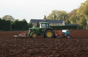 Geoff in Our Tractor Busy Collecting Planting Rape Across our Fields